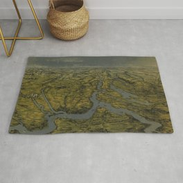 Vintage Bird's Eye Map of Tennessee & Kentucky (1862) Rug