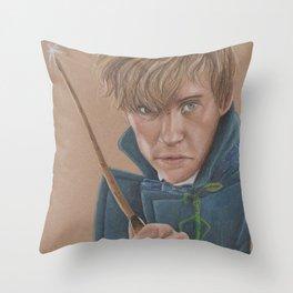 Newt Scamander Portrait played by Eddie Redmayne Throw Pillow