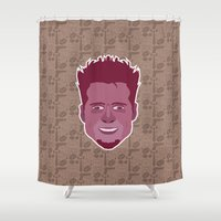 tyler durden Shower Curtains featuring Tyler Durden - FightClub by Kuki