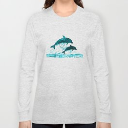 Dolphins, navy blue Long Sleeve T-shirt