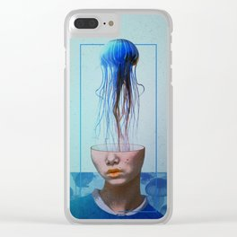 Jellyfish blue. Clear iPhone Case