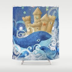 Sandcastle Waves Whales Shower Curtain