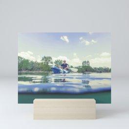 Young Man Kayaking on Lake, Kayaking Underwater View, Split Shot. Mini Art Print
