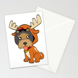 Terrier Christmas Dog T-shirt Design On Xmas Eve or Day Paw Paws Pet Breed Dogs Christmas Tree Stationery Cards