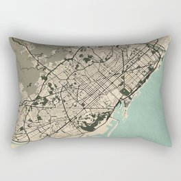 Barcelona City Map of Spain - Vintage Rectangular Pillow