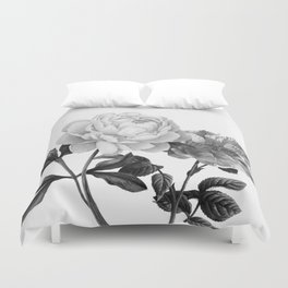 grayscale roses Duvet Cover
