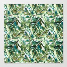 Leaf the jungle watercolor pattern Canvas Print