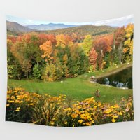 vermont Wall Tapestries featuring Vermont Foliage Watercolor by Vermont Greetings
