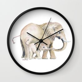 Mom and Baby Elephant 2 Wall Clock