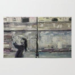 City Landscape selfie Print Original Oil Painting on Canvas Rug