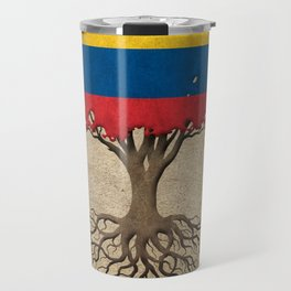 Vintage Tree of Life with Flag of Colombia Travel Mug