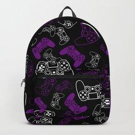 Video Games Purple on Black Backpack