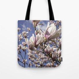 Magnolia Blossoms Shiver Against A Chill Wind Tote Bag