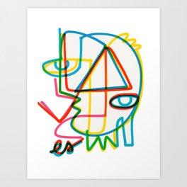 Good Energy Graffiti Art Cubist Portrait by Emmanuel Signorino  Art Print