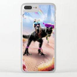 Pug Riding Dinosaur With Chicken Nuggets And Cola Clear iPhone Case