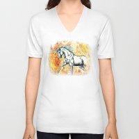 unicorn V-neck T-shirts featuring Unicorn by Stephanie Stonato
