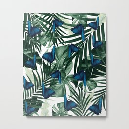 Tropical Butterfly Jungle Leaves Pattern #1 #tropical #decor #art #society6 Metal Print