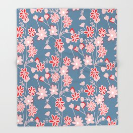 Red-Pink Flower Pattern Throw Blanket