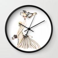 nightmare before christmas Wall Clocks featuring Nightmare Before Christmas x Bridal by ginosunscreen