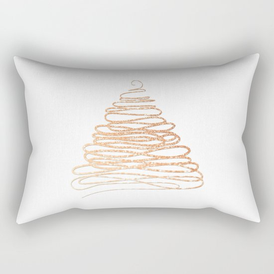 Merry Christmas pink Glitter Christmastree Rectangular Pillow