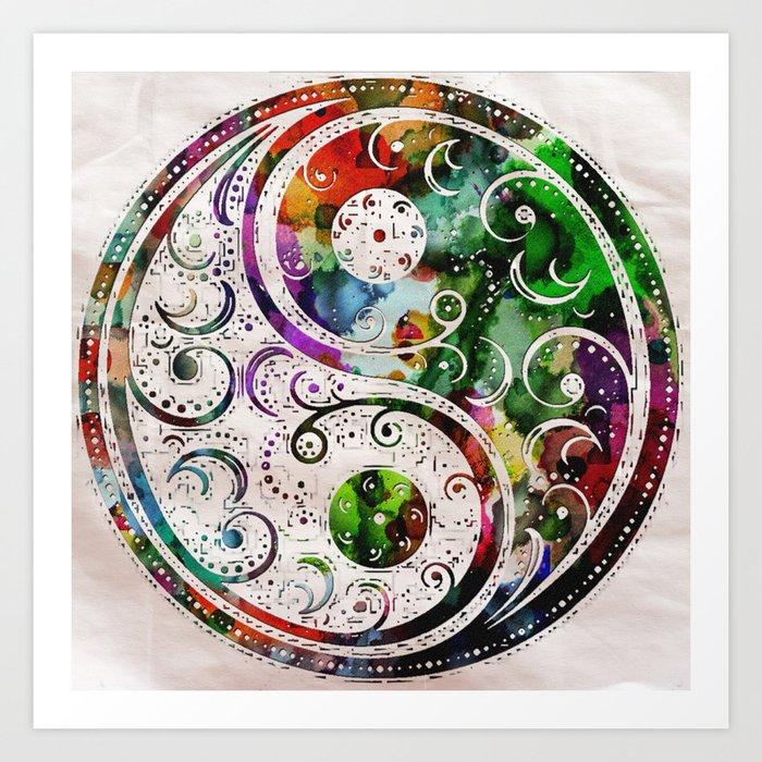 Yin Yang Zen Art Abstract Paintings Modern Watercolor Robert R Splashy Art Art Print