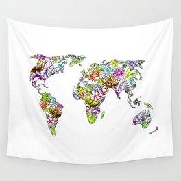 flowers in the world map . artwork Wall Tapestry