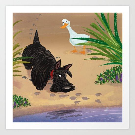 Scottie and the Duck Art Print