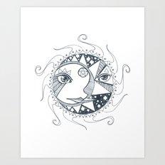 Moon, Sun, and Stars Art Print