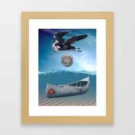 Canoe Compass And Heron Framed Art Print