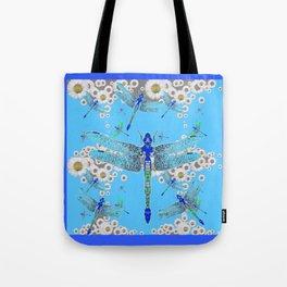 BLUE DRAGONFLIES LILAC WHITE DAISY FLOWERS  ART Tote Bag