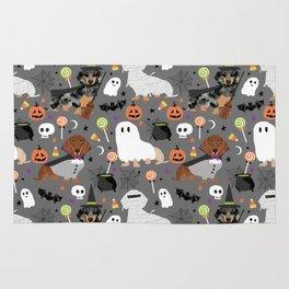 Dachshund dog breed halloween cute pattern doxie dachsie dog costumes Rug