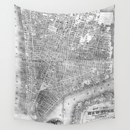 Vintage Map of New York City (1852) BW Wall Tapestry