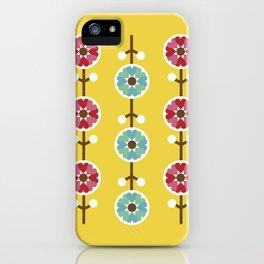 Scandinavian inspired flower pattern - yellow background iPhone Case