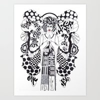 GABRIEL; GREETINGS, YOU WHO ARE HIGHLY FAVORED; THE LORD IS WITH YOU - LK 1:28; BLACK JESUS Art Print