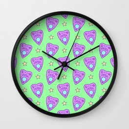 Planchette Pattern on Green Wall Clock