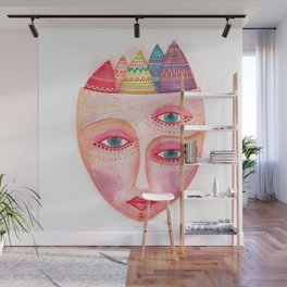 girl with the most beautiful eyes mask portrait Wall Mural