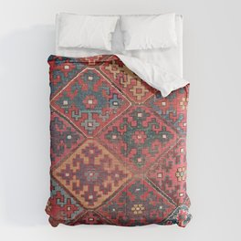 Rosette Diamond Stars II // 19th Century Colorful Red Black Dusty Blue Space Ornate Accent Pattern Comforters