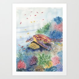 Sea Turtle and Friends Art Print