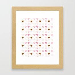 Pink and Gold Hearts Doodle Art Framed Art Print