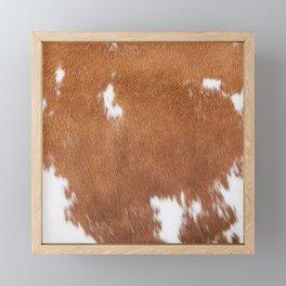 Light Brown and White Cowhide, Cow Skin Pattern, Farmhouse Decor Framed Mini Art Print