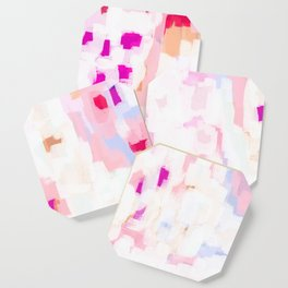 Netta - abstract painting pink pastel bright happy modern home office dorm college decor Coaster