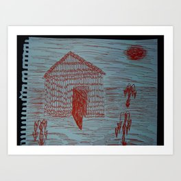 Zoe's Art Stuff - Shack Hut & Sun Art Print