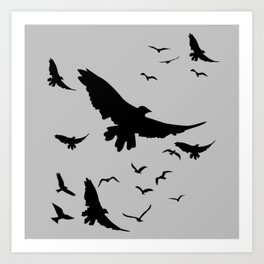 FLOCK OF RAVENS IN GREY SKY Art Print