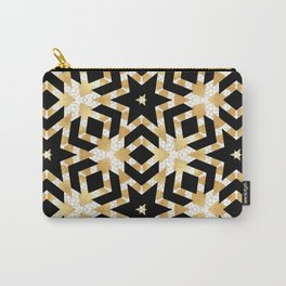 Art Deco Gold Foil Star Pattern Carry-All Pouch