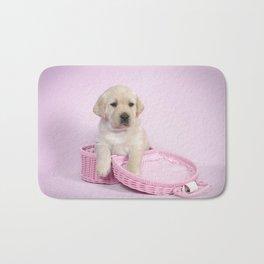 Lab in pink Bath Mat