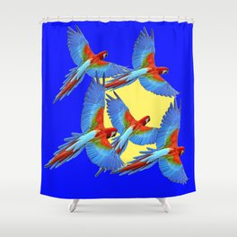 DECORATIVE FLOCK OF BLUE MACAWS & YELLOW Shower Curtain