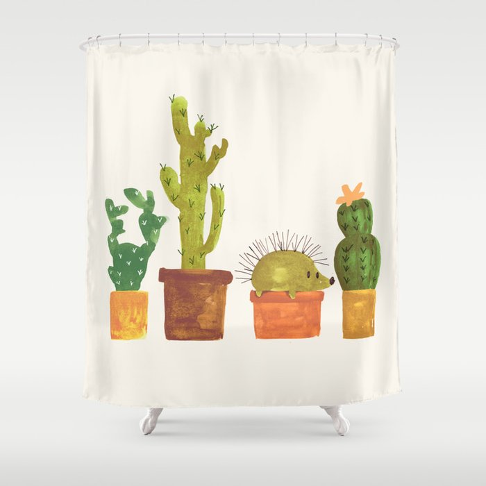 Hedgehog And Cactus Incognito Shower Curtain By Budikwan