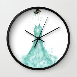 Fashion illustration mermaid dress in mint Wall Clock