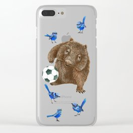 Blue wrens Wombat Football Clear iPhone Case