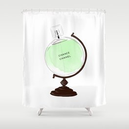 Green Perfume Globus Shower Curtain